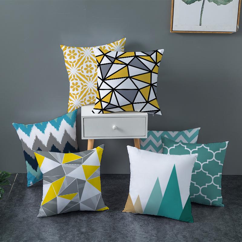 Fuwatacchi Geometric Cushion Covers Yellow Plaid Stripes Print Pillow Case For Home Chair Sofa Decoration Pillowcases 45cm*45cm