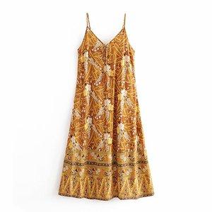 Image 2 - Đầm Sang Trọng Nữ Họa Tiết Áo Đi Biển Bohemia Đầm Maxi Nữ Cổ Chữ V Tua Rua Rayon Cotton Boho Đầm Vestidos