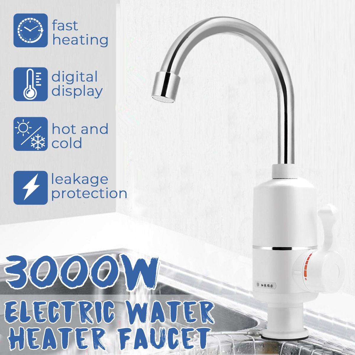 Water Heater Tap Kitchen Faucet Instant Hot Water Heater Shower Heaters 360 Rotatable Tankless Water Heating Tap EU Plug