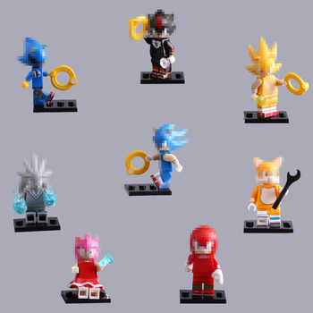 8pcs/set Sonic The Hedgehog Building Blocks Toy PVC Sonic Shadow Tails Characters Action Figure Toys for Children Gifts недорого