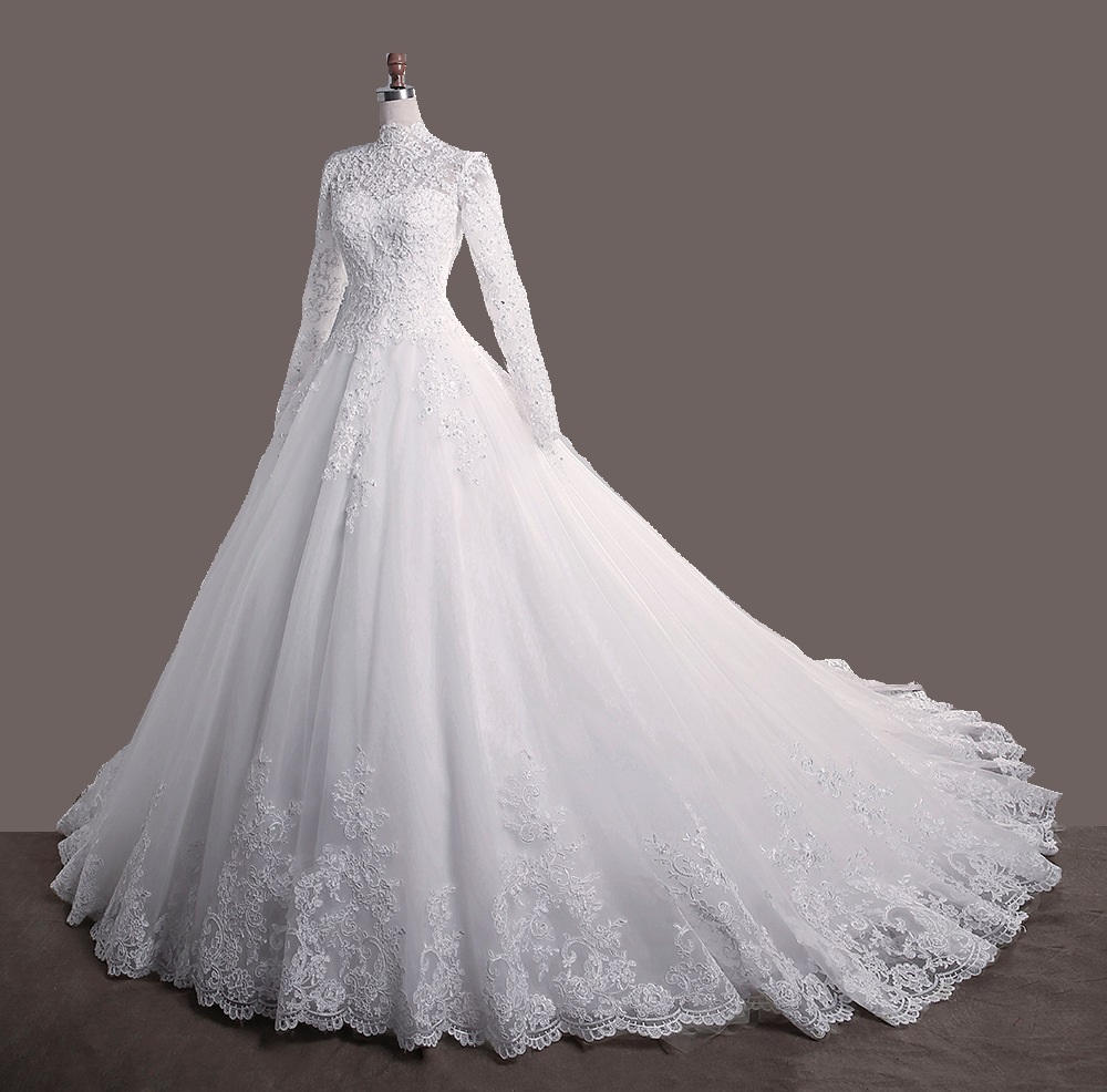 Bridal WEDDING Gown Lace Up High NECK Wedding Dresses LONG SLEEVE PLUS SIZE Anniversary Ceremony Muslim Wedding DRESS With Train