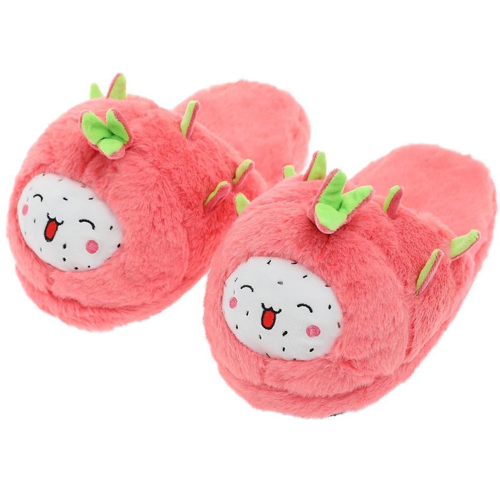 H9f2db10c99bb4accb8e677869bc62ee2t Millffy mulher bonito dragão frutas pitaya chinelo de frutas feminino inverno de pelúcia casa chinelos sapatos quarto casa chinelo