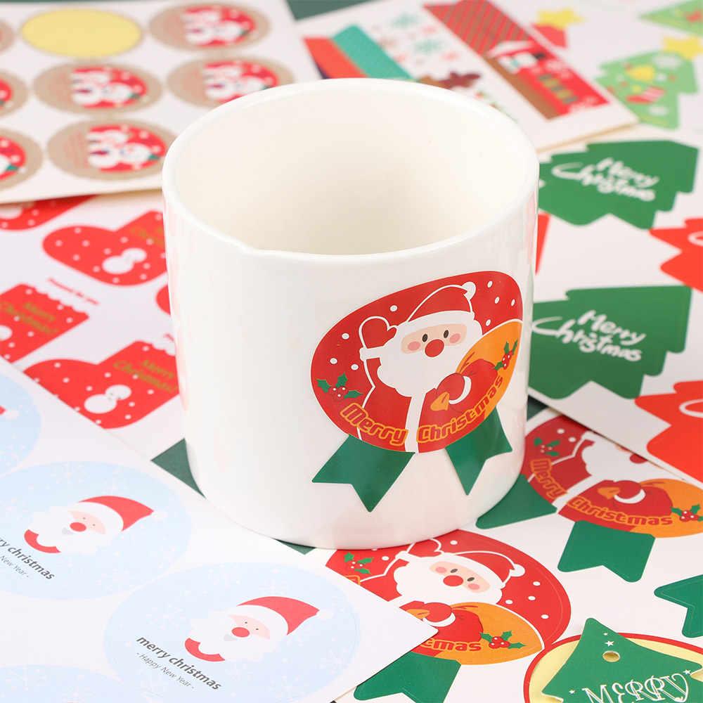 5pcs Kerst Claus Kerst Herten Zelfklevende Afdichting Stickers Briefpapier Gift Decoratieve Sticker Bakken Afdichting Leuke Seali