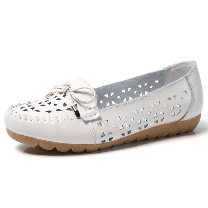 Plardin 2019 Bahar kadın flats ayakkabı kadın hakiki deri ayakkabı kadın kesme loafer'lar bale daireler üzerinde kayma balerinler düz