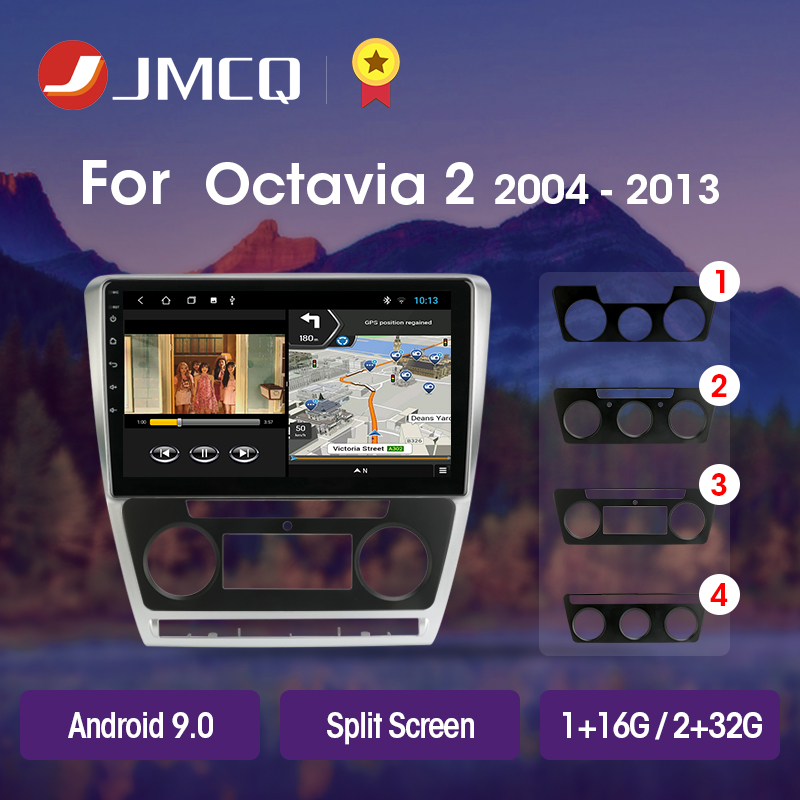 JMCQ T3L PLUS For SKODA Octavia 2 A5 2008-2013 Car Radio Multimedia Video Player Navigation GPS Android 9.0 DSP No 2din 2 Din