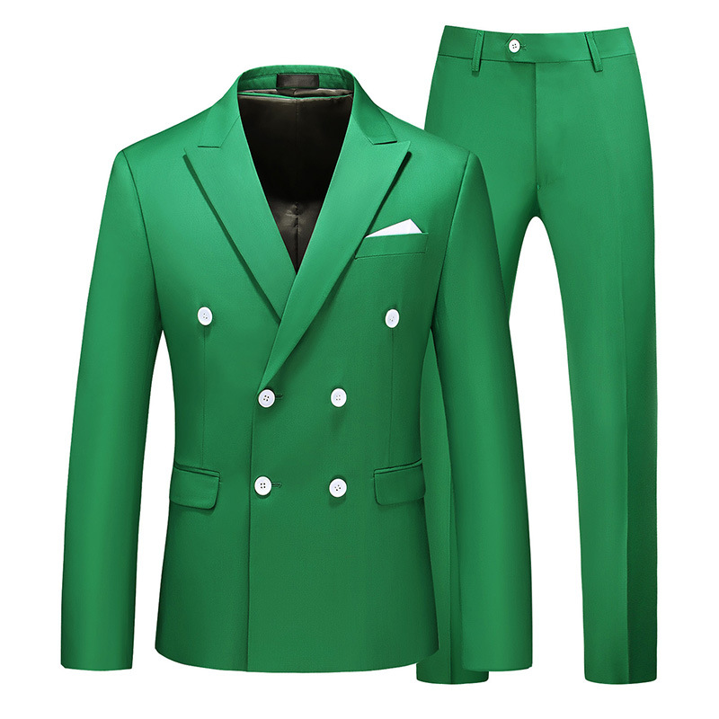 Main Push Men's Large Size Suit Two-Piece Set Double Breasted 8 Solid Color 7110/145