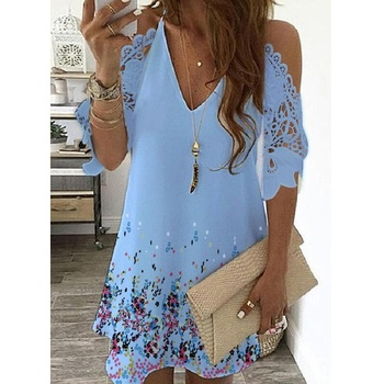 New Women's Summer Half Sleeves Printed Dress Off Shoulder  Female V Neck Lace Casual Plus Size Sling Party Dresses