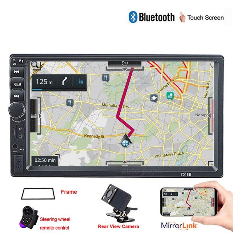 Autoradio 2 din geral modelos de carro 7 models player tela de toque bluetooth jogador de rádio do carro áudio aux câmera de visão traseira espelho ligação 7018b