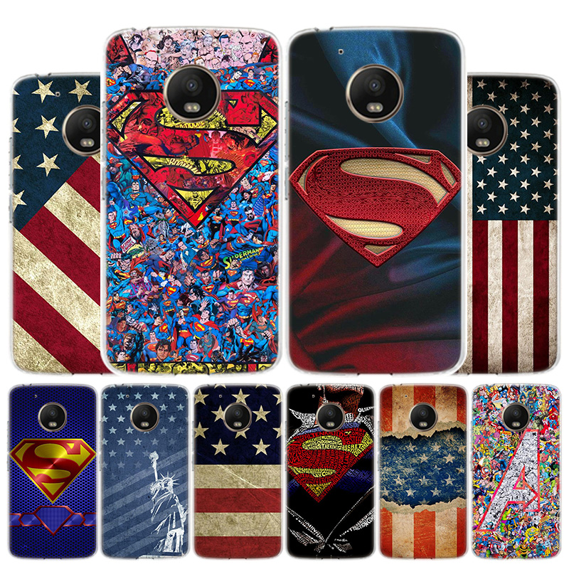 American Flag Superman Shield Phone Case For Motorola Moto G8 G7 G6 G5S G5 G4 E6 E5 E4 Plus Play Power One Action X4 Cover Coque