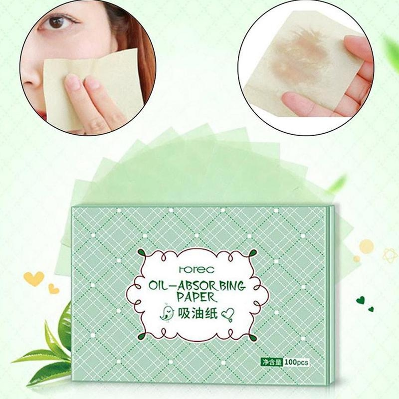 Green Extract Facial Absorbent Paper Oil Makeup Cleansing Shrink Pore Sweat Absorbing Oil Control Face Cleaning Tool 100 Pcs