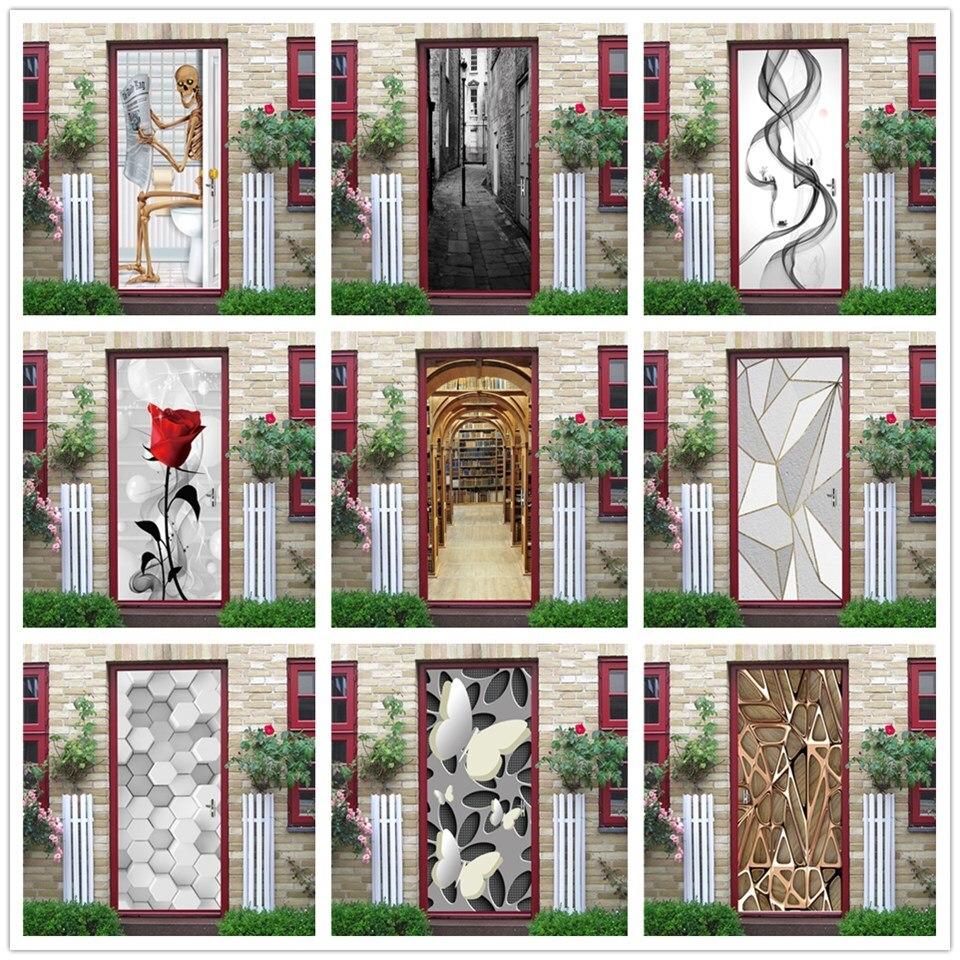 Funny Skull Home Design Door Mural DIY PVC Self-adhesive Wallpaper Wooden Door Renovation Stickers Wall Art Decals Flower Poster