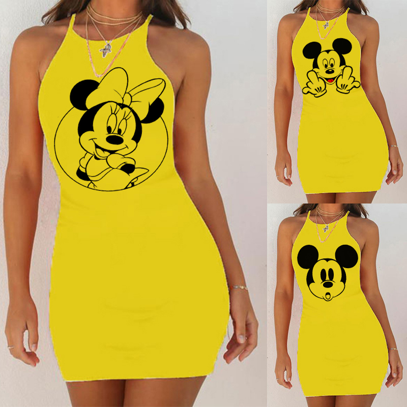 Cartoon Mouse Print Night Dress 2020 New Women Nightgown Slim Pack Hip Sleeveless <font><b>Plus</b></font> <font><b>Size</b></font> Nightdress <font><b>Sexy</b></font> Summer Sleepwear image