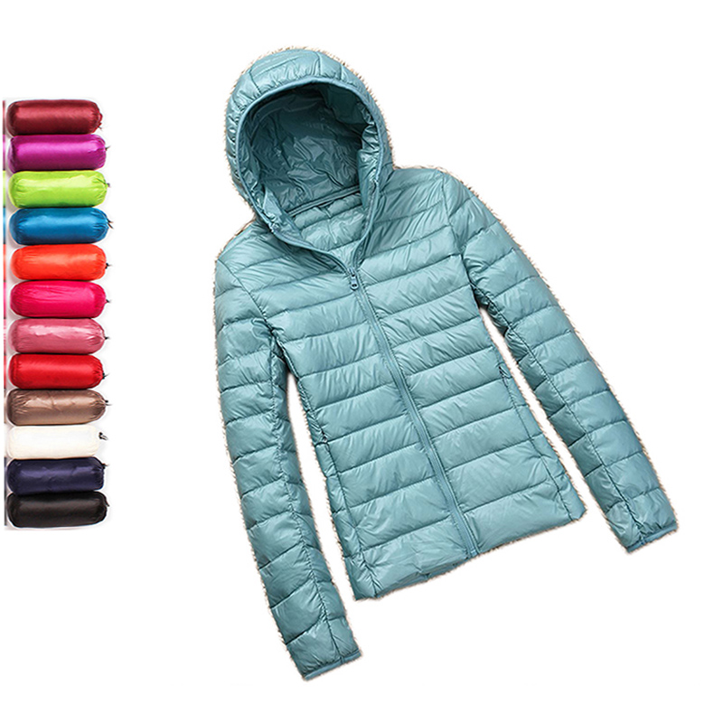 Winter Plus Size 4XL Womens White Duck Down Jackets Short Ultra Light Duck Down Coat Hooded Puffer Jacket Autumn Parkas