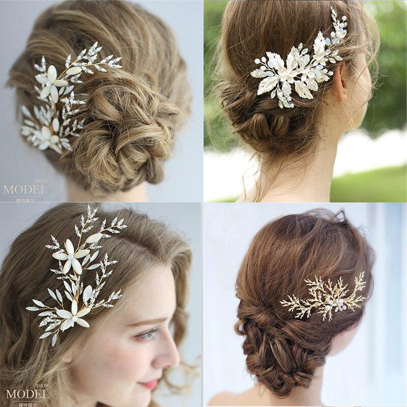 Leaf Flower Bridal Hairpin Rhinestone Women Jewelry Accessories Beauty Handmade Bride Headwear Metal Head Combs Charms Headdress