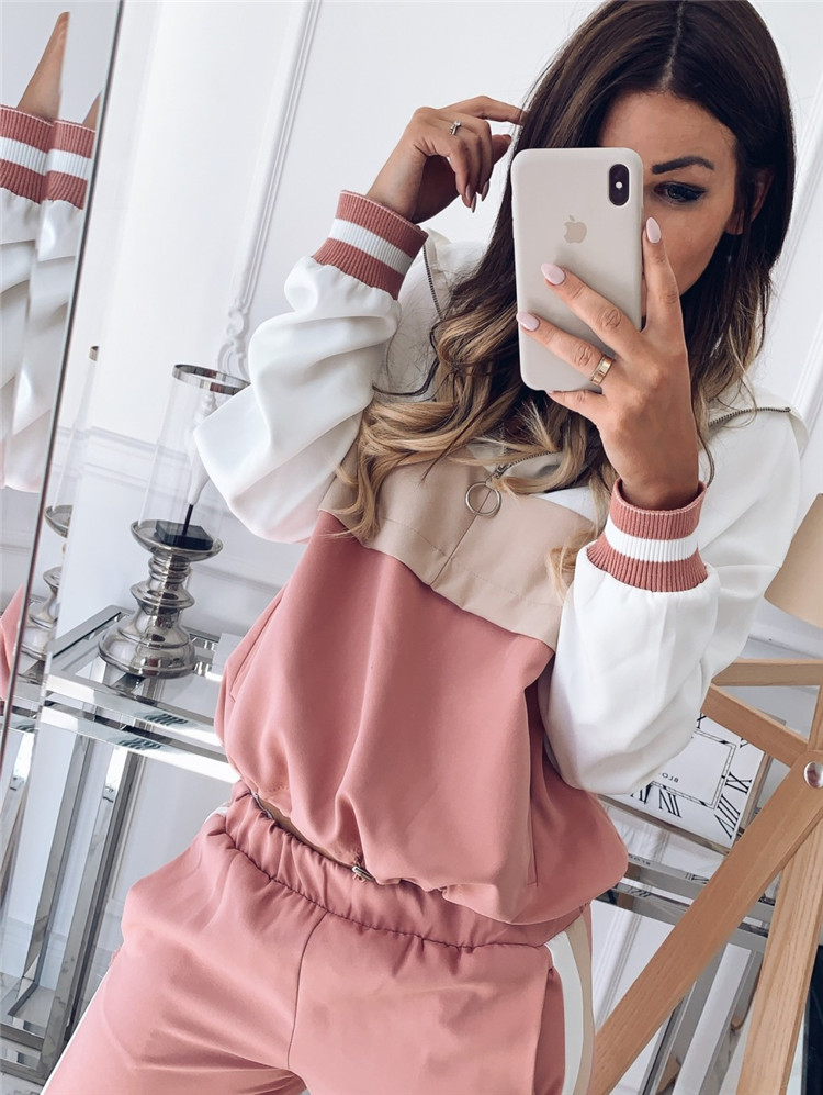 2019 Vintage Pink Khaki Contrast Color Baseball Bomber Pullover Jacket Women Tops And Pencil Jogging Pants Suits Two Piece Sets