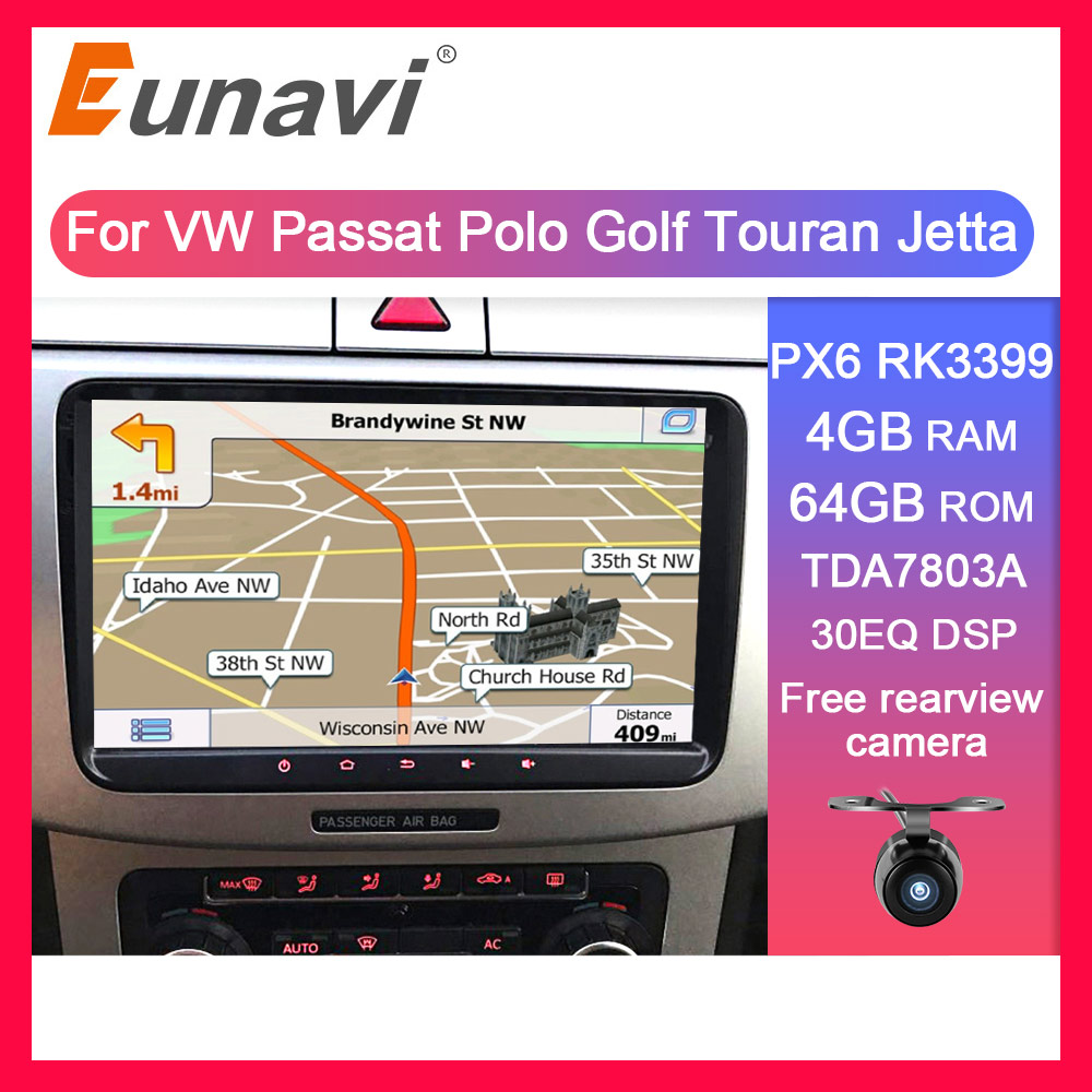 Eunavi 2 Din Car Multimedia dvd gps for VW JETTA GOLF MK5 MK6 GTI <font><b>PASSAT</b></font> <font><b>B6</b></font> POLO SKODA Fabia 2din Android system radio IPS DSP image