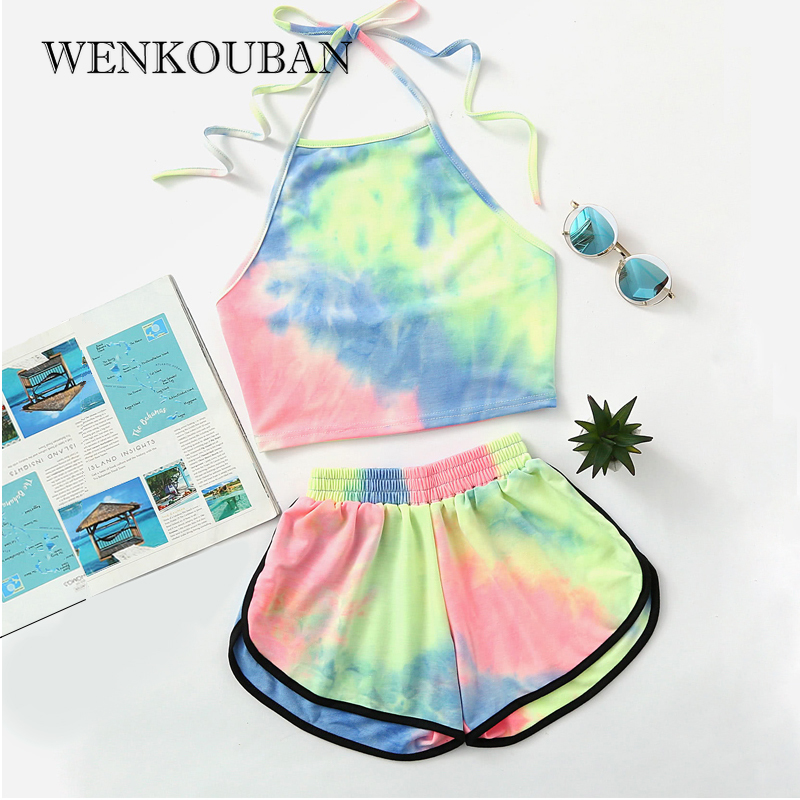 Two Piece Set Women Summer Top And Pants Tie DyeHalter Sets For Women Backless Crop Sexy Top Kawaii Set Conjuntos De Mujer 2020