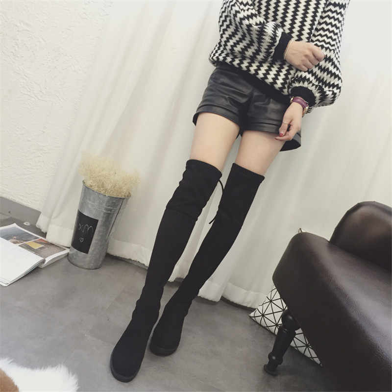 2019 nieuwe Sexy laarzen Over-knee laarzen, vrouwen winter laarzen sectie 2019 platte bodem met verhoogde high-lage elastische laarzen A01