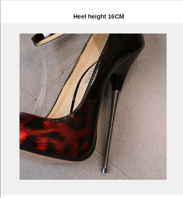 Leopard Leather Extreme High Heels 16cm Female Shoes Ankle Strap Sexy Model Small Heel Women Shoes Pumps Big Size 35-46
