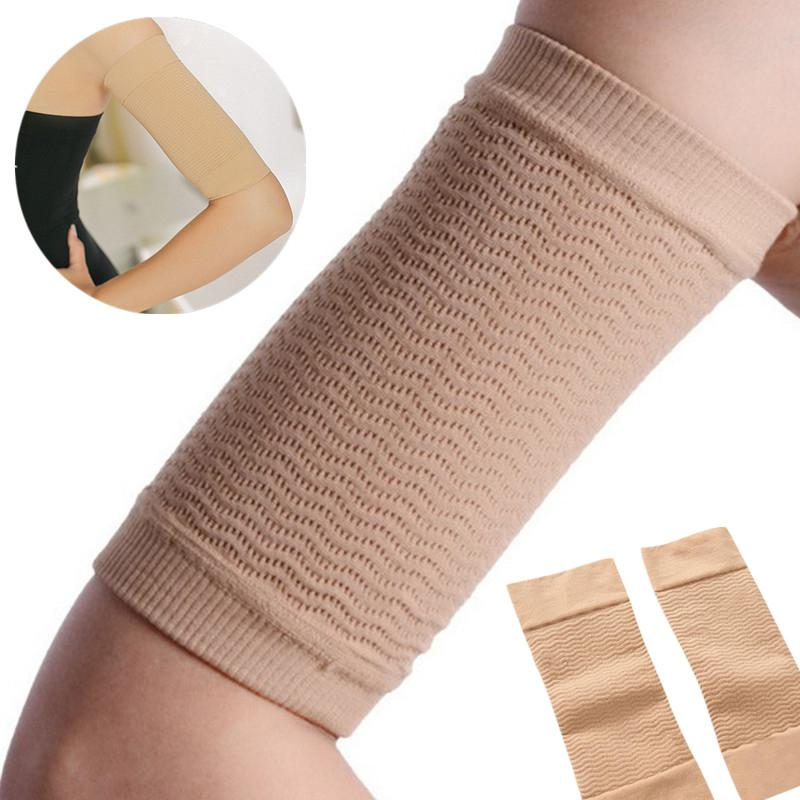 2 Pcs Women Weight Loss Thin Arm Fat Slimmer Wrap Elasticity Belt Arms Sleeve Solid Color Female Arm Warmers