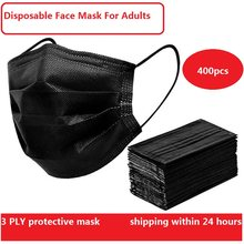 Mascarilla médica desechable de 3 capas, máscara quirúrgica no tejida, transpirable, negra