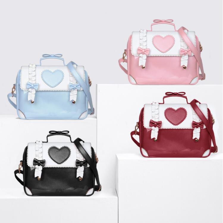 Japanese Student Sweet Lolita Backpack Vintage Falbala Cute Bowknot Love Kawaii Girl Handbag Loli Cos Gothic Lolita Shoulder Bag