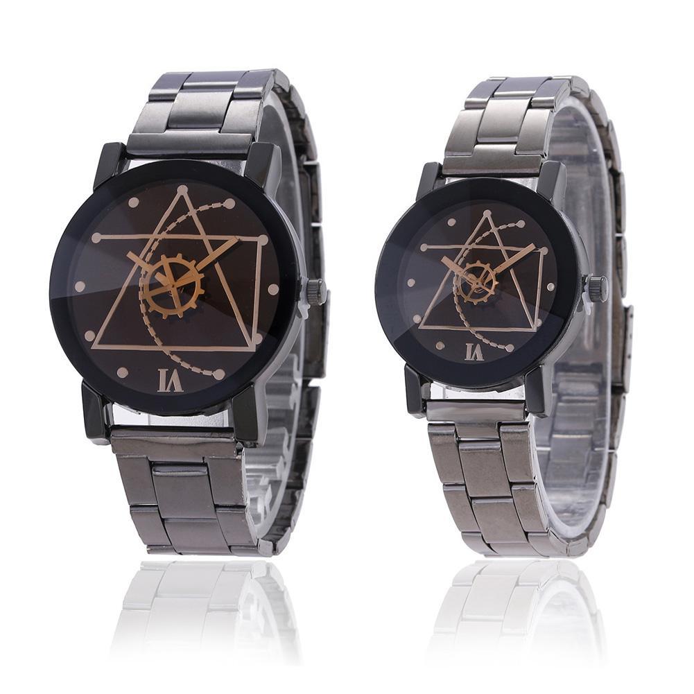 Couple Women Men Gear Tungsten Steel Strap Watch Wristwatch Clothing Accessories