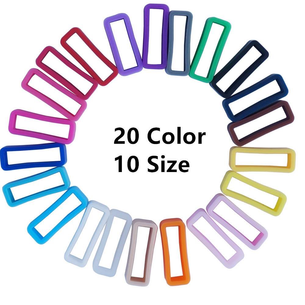 4Pcs 12 14 16 18 19 20 21 22 24 26mm  Watchbands Strap Loop Ring Silicone Rubber Watch Bands Accessories Holder Locker 20 Color