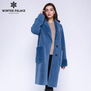 Image 2 - חורף ארמון 2019 נשים של חדש צמר מעיל ארוך חליפת צווארון עם 30% צמר חורף חם קלאסי סגנון פרווה מעיל צמר תערובת מרובה