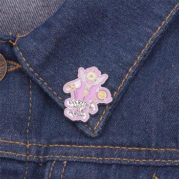 Wszystko będzie w porządku emalia pin Cardcaptor Sakura niezwyciężony zaklęcie broszka magiczna różdżka odznaka piękna inspirujące zebrać