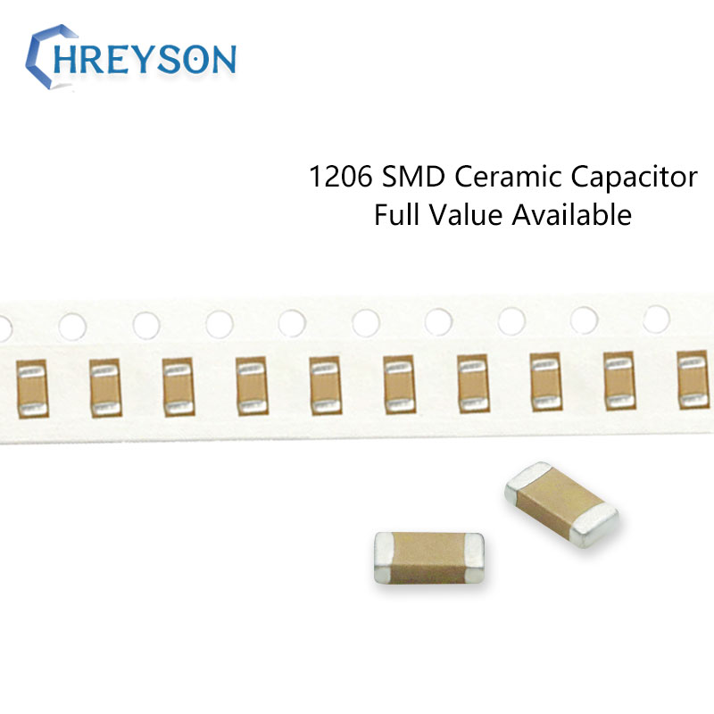 Conjunto de condensadores electrónicos 100 Uds., 1pF-180pF 1206 5% 10% 4pF 4.7pF 39pF 75pF 50V 6R8C 3216 K MLCC, valor completo disponible DIY