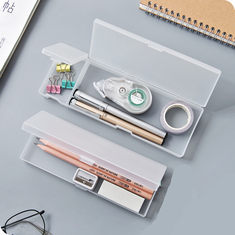 2 Sizes Cute Kawaii Simple Transparent Pencil Case Pencil Box  Frosted Plastic Storage Box Learning Stationery Office Supplies