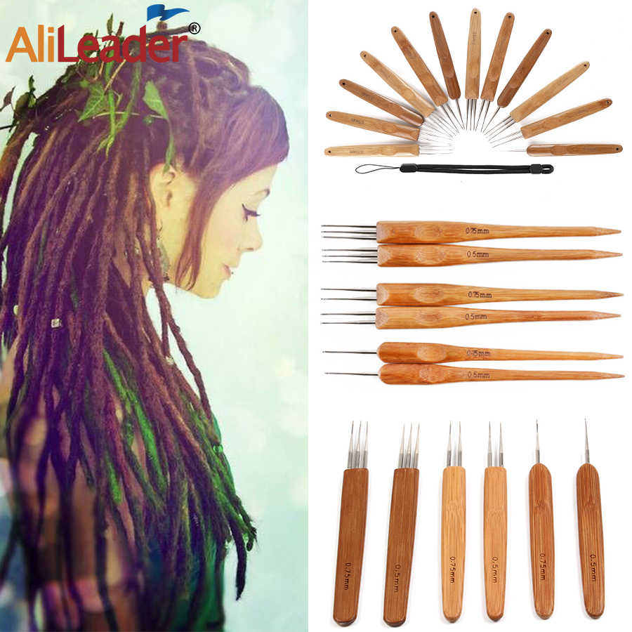 Alileader Top Selling 1/2/3 głowice Wood Handle Crochet haczyk szydełka dla Dreadlock Braid Hair 0.5/0.75Mm Bamboo Hook dla Braid Craft