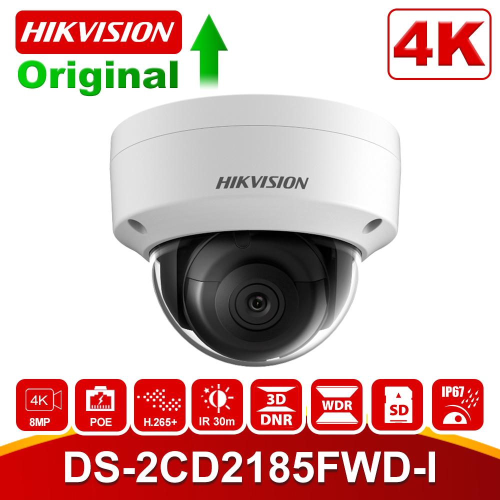 Hikvision 8MP POE IP Camera DS-2CD2185FWD-I Outdoor 4K Network Dome security CCTV Camera SD card 30m IR H.265+ image
