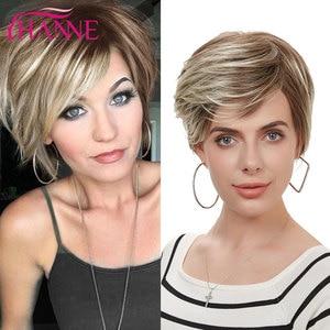 Image 2 - Hanne mix peruca de cabelo sintético, perucas de cabelo sintético, marrom e loiro, alta temperatura, resistente ao calor, peruca afroamericana curta