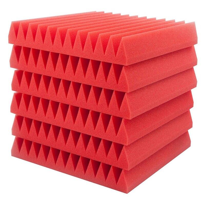 6 Pcs Red Acoustic Panels Soundproofing Foam Acoustic Tiles Studio Foam Sound Wedges 5x 30x30cm