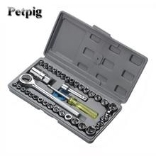 цена на Socket Spanners Set of End Heads 40 Pcs Sleeve Car Repair Tool Ratchet Set Torque Wrench Combination Set Key Vanadium Steel