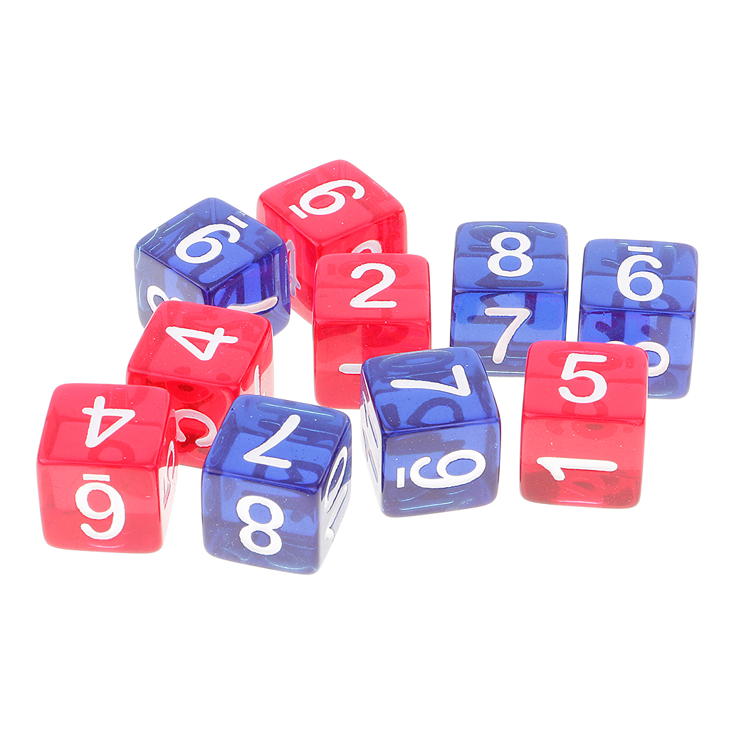 10x D6 Dices 1-12 Set Blue & Red Transparent Square Kids Numbers Teaching