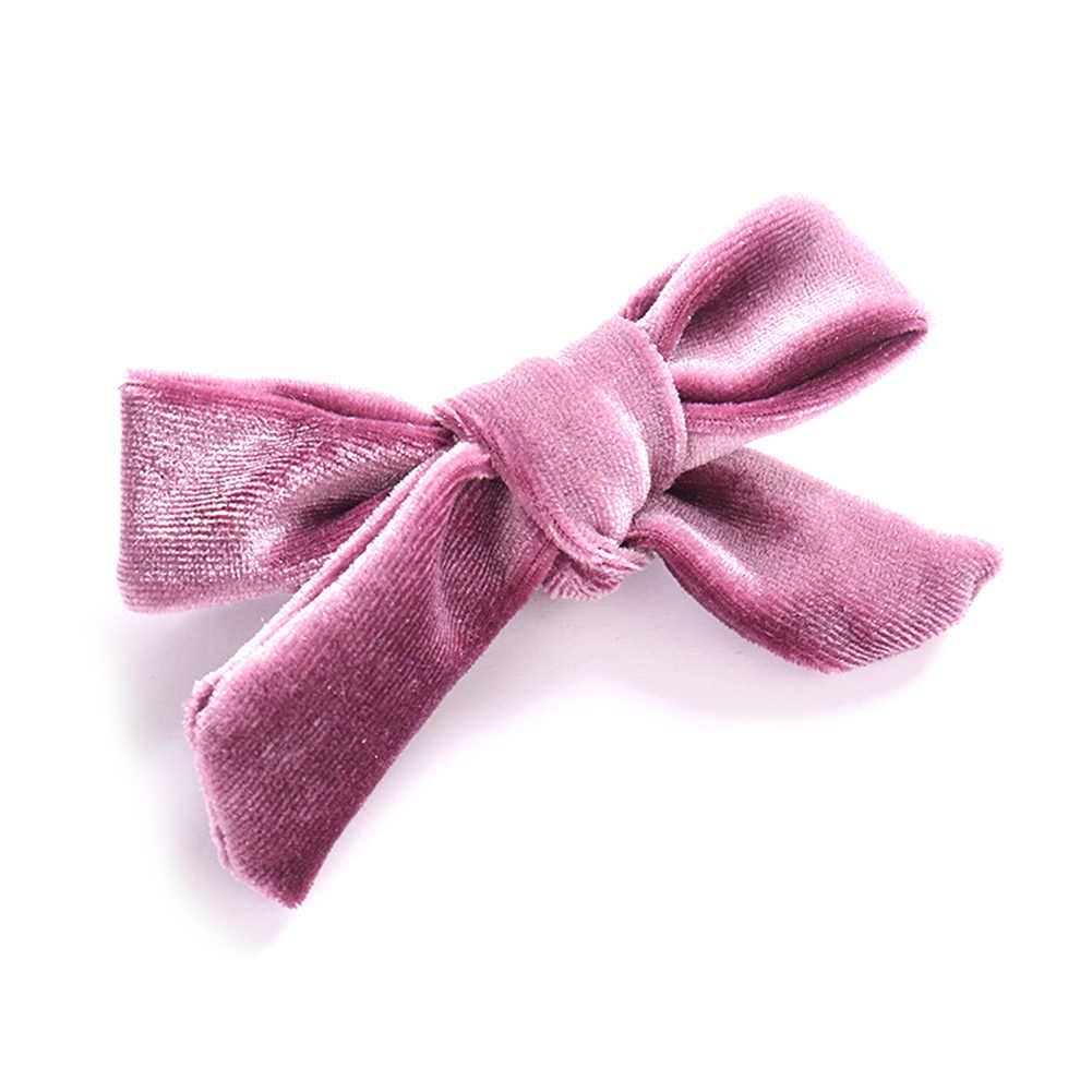 Детские мягкие бархатные заколки для волос с бантом; однотонные заколки для волос с перекрестным узлом; аксессуары для волос для девочек; милый головной убор; заколки для волос с орнаментом; повязка на голову