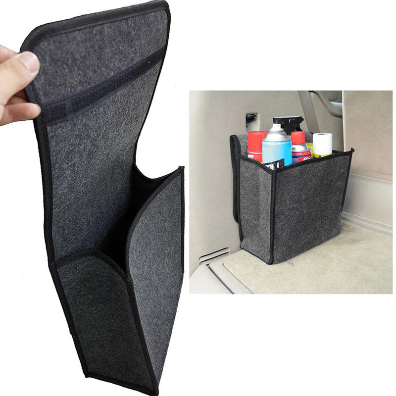 Soft Woolen Felt car trunk organizer 30*16*29cm Car storage box bag fireproof Stowing Tidying package blanket tool