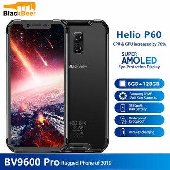 Перейти на Алиэкспресс и купить Смартфон BLACKVIEW BV9600 Pro, IP68, 6 + 128 ГБ, 16 Мп, 6,21 дюйма, FHD +, Беспроводная зарядка, NFC, 4G, Android 8,1, GPS