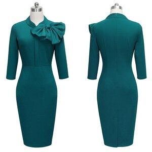 Image 5 - נחמד לנצח בציר אלגנטי פרחוני עם שחור Bow לעבוד vestidos משרד עסקי המפלגה Bodycon נשים נדן שמלת btyB244