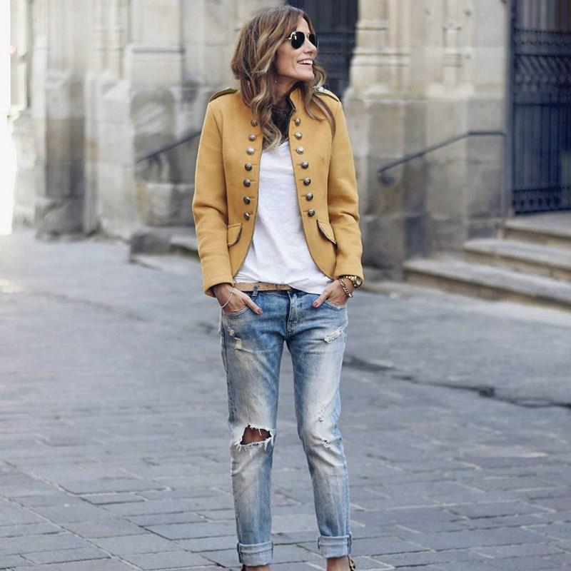 Nice Fall Button Casual Blazer Women Coat Solid Short Jacket Mandarin Collar Work Slim Office Blazer