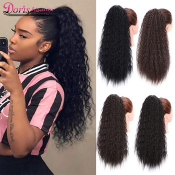 Doris Beauty długie Afro perwersyjne kręcone przedłużanie kucyka 22 Cal syntetyczne sznurki włosy kukurydziane dla kobiet czarny brązowy tanie i dobre opinie Wysokiej Temperatury Włókna 100 g sztuka 1 sztuka tylko Clip-in Pure color 22 inches