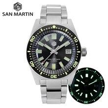 San Martin 62mas Sapphire 3D Hexagon Logo Diver Watch NH35A Automatic Men Mechanical Watches Date 20Bar Waterproof Full Luminous