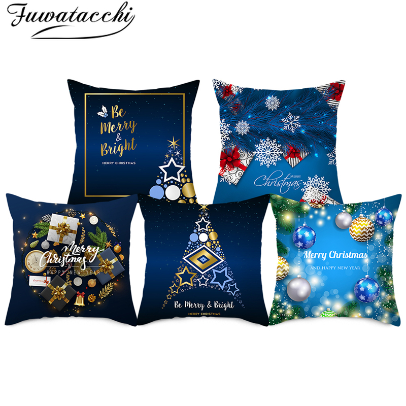 Fuwatacchi Dark Blue Christmas Decorative Cushion Cover Nordic Diamond Style Pillowcase Polyester Home Sofa Chair Pillow Covers