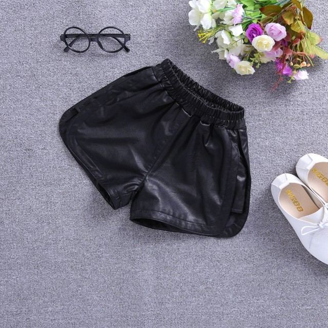 PU Leather Shorts for Kid Girls Winter Thick Fleece Lining Faux Leather Short Children Casual Solid High Waist Elastic Bottom 2
