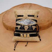 Go2boho MIYUKI 3D Herz Armband Schwarz Stern Schmuck Niet Pulseras Mujer Moda 2019 Klassische Armbänder Frauen Handgemachte Webstuhl Perlen