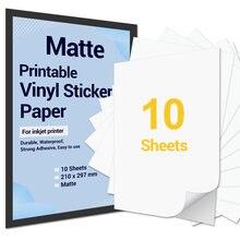 10 folhas a4 papel adesivo de vinil impresso fosco auto-adesivo papel de cópia à prova dwaterproof água para impressora a jato de tinta diy decalques presente artesanato