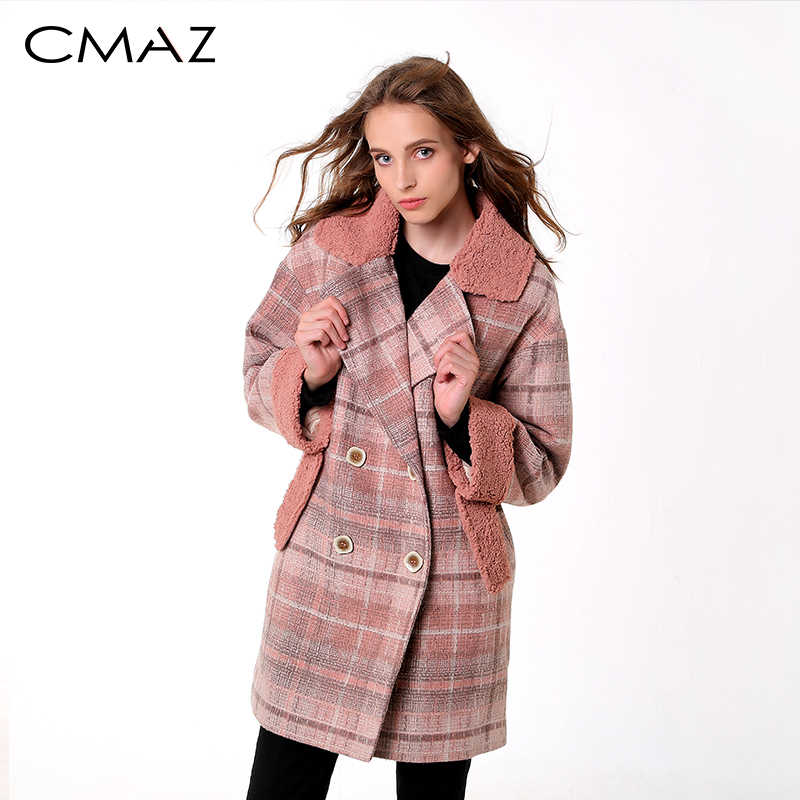 CMAZ 2019 autumn winter plaid woolen coat new fashion causal women turndown collar long pink coat MX18D9678